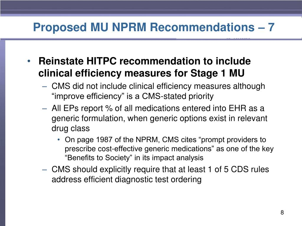 Proposed MU NPRM Recommendations – 7