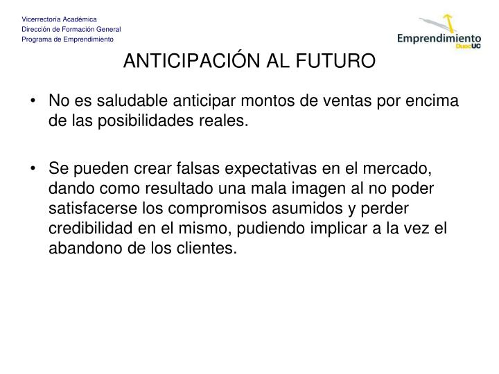 ANTICIPACIÓN AL FUTURO