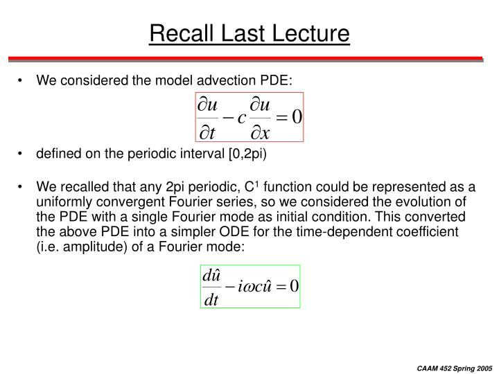 Recall last lecture