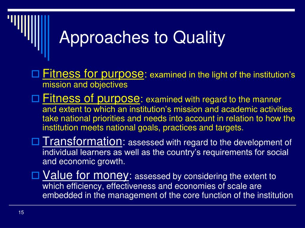 Approaches to Quality
