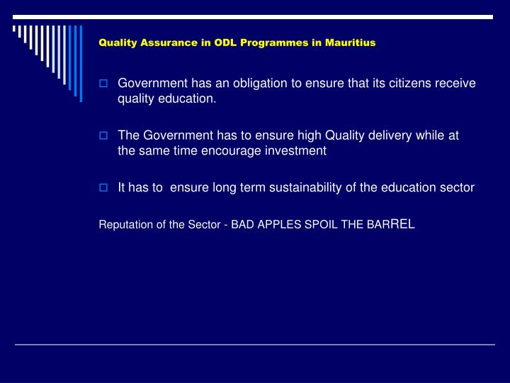 Quality assurance in odl programmes in mauritius2
