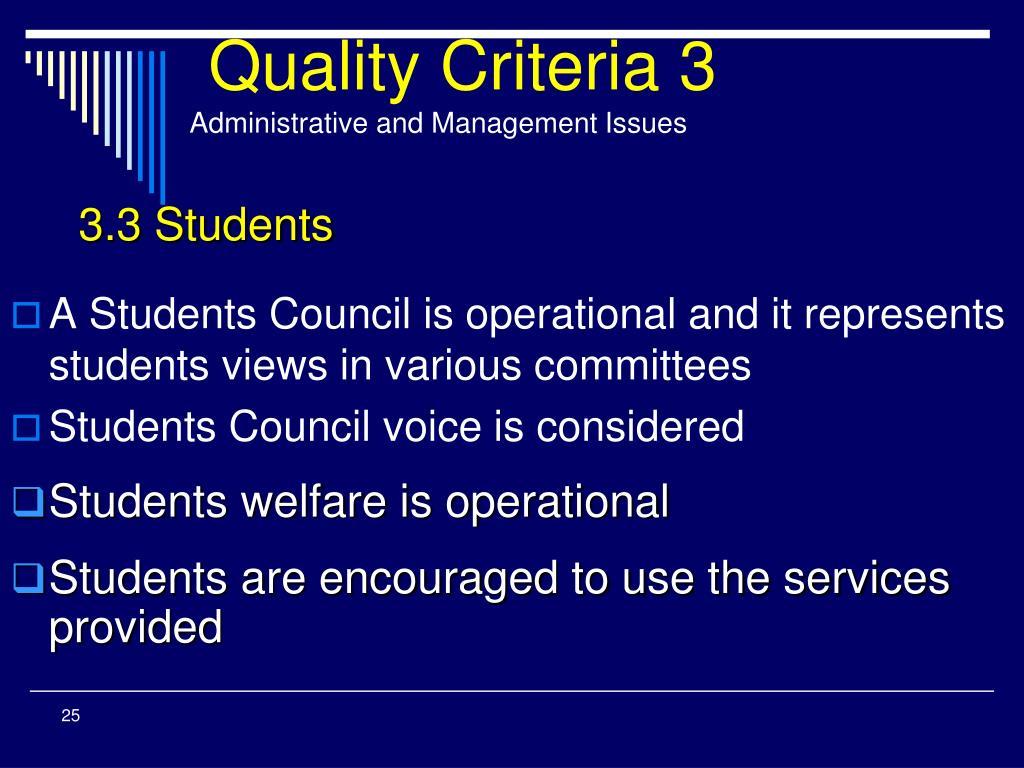 Quality Criteria 3
