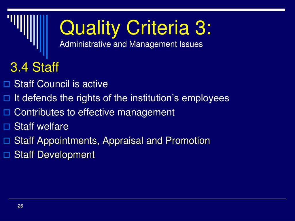 Quality Criteria 3: