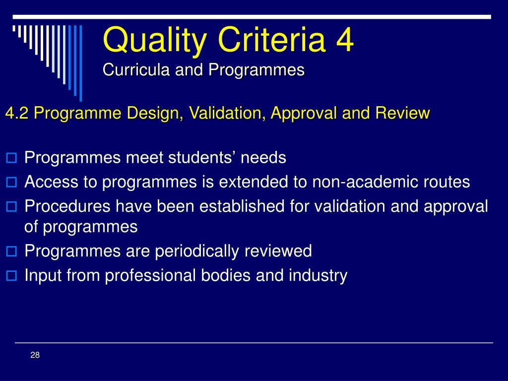 Quality Criteria 4