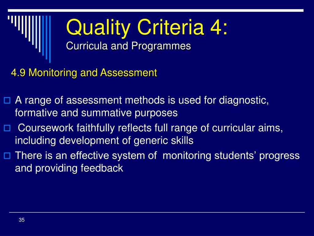 Quality Criteria 4: