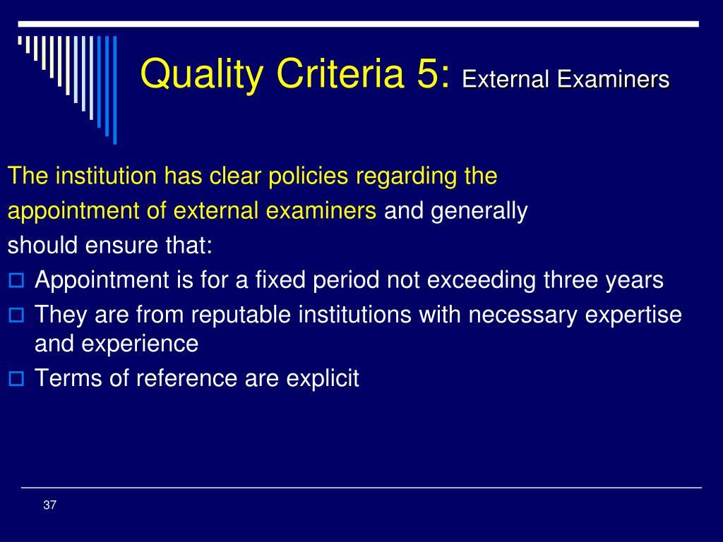 Quality Criteria 5: