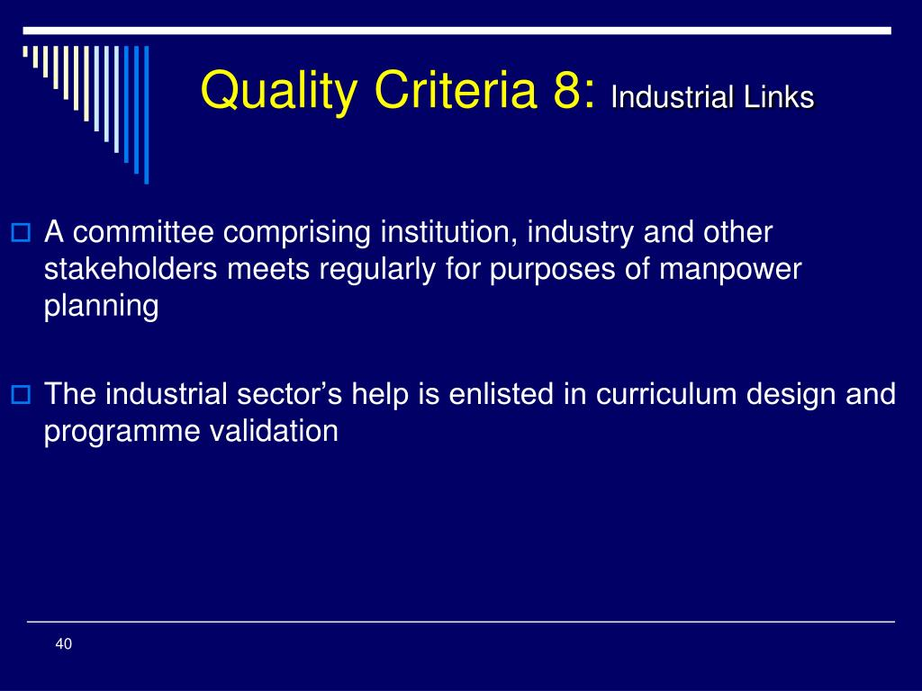 Quality Criteria 8:
