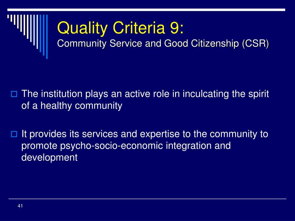 Quality Criteria 9: