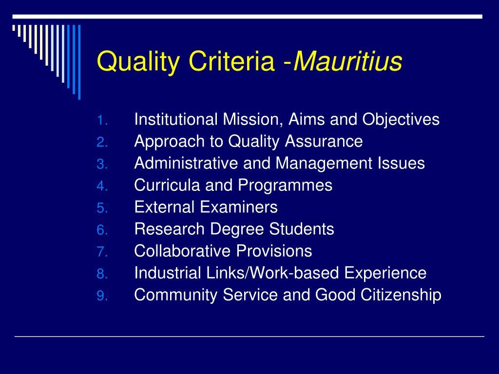 Quality Criteria -