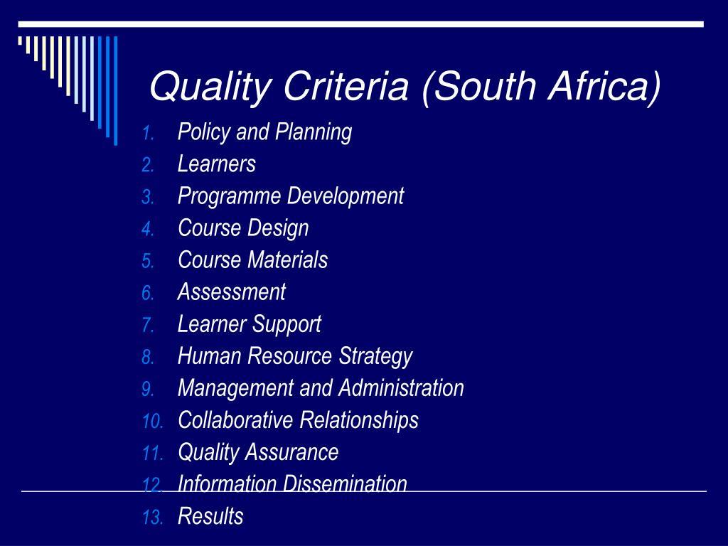 Quality Criteria (South Africa)