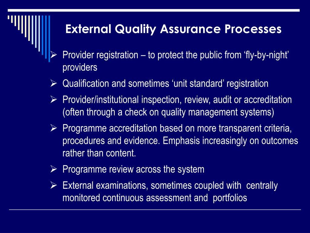 External Quality Assurance Processes
