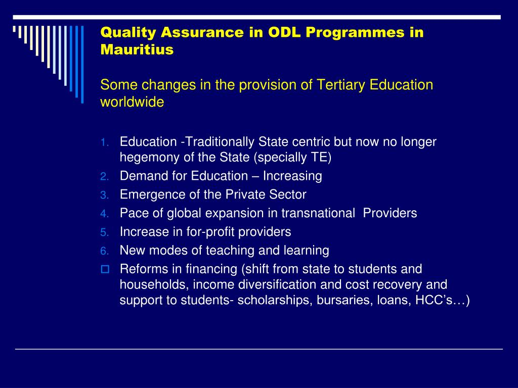Quality Assurance in ODL Programmes in Mauritius