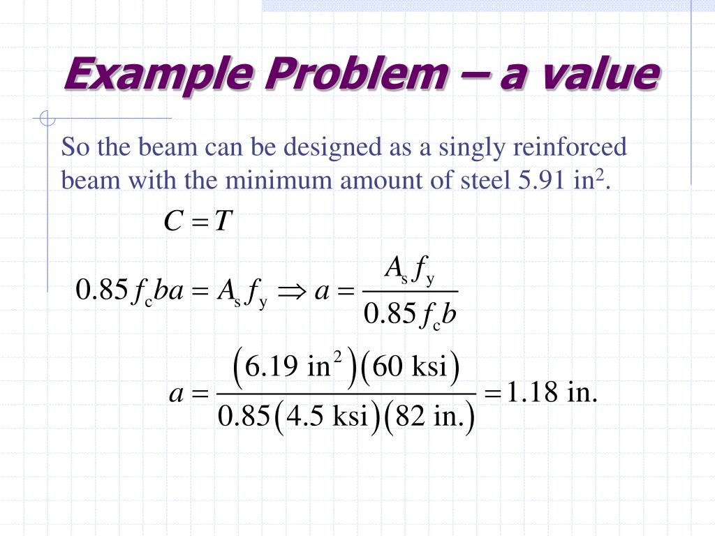 Example Problem – a value