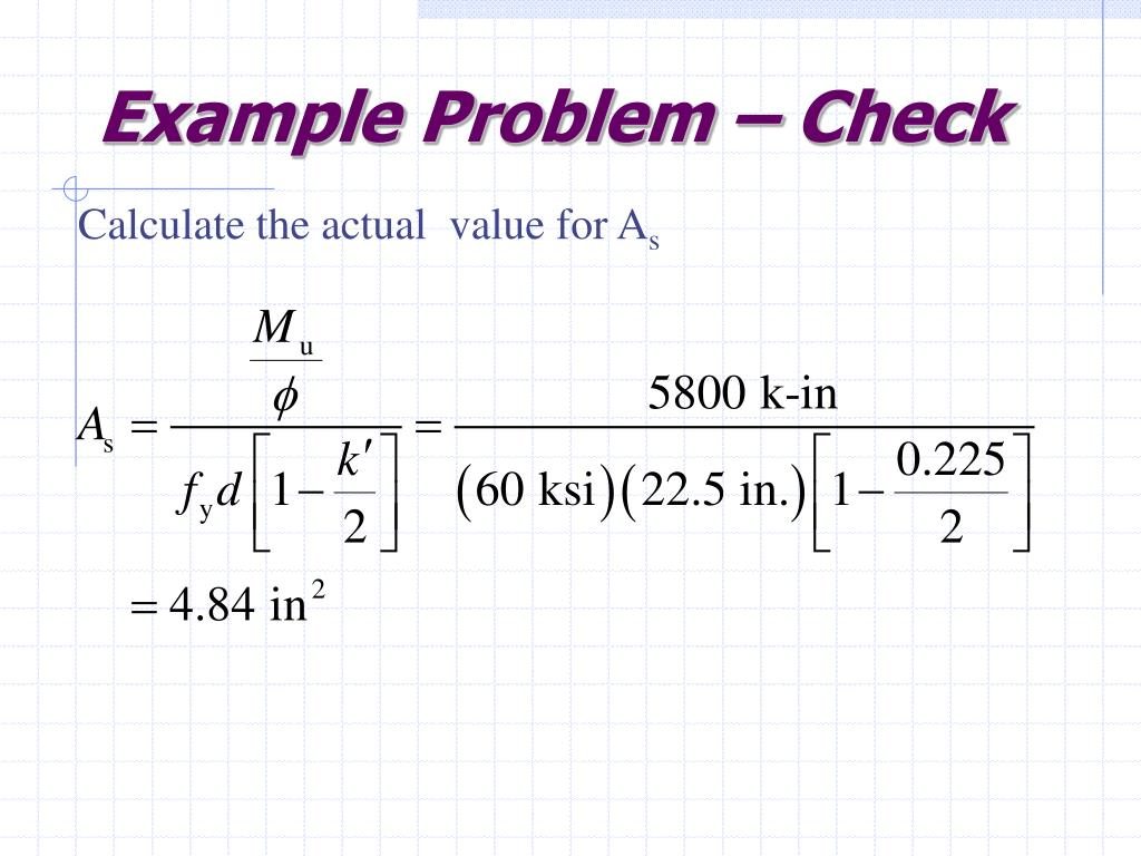 Example Problem – Check