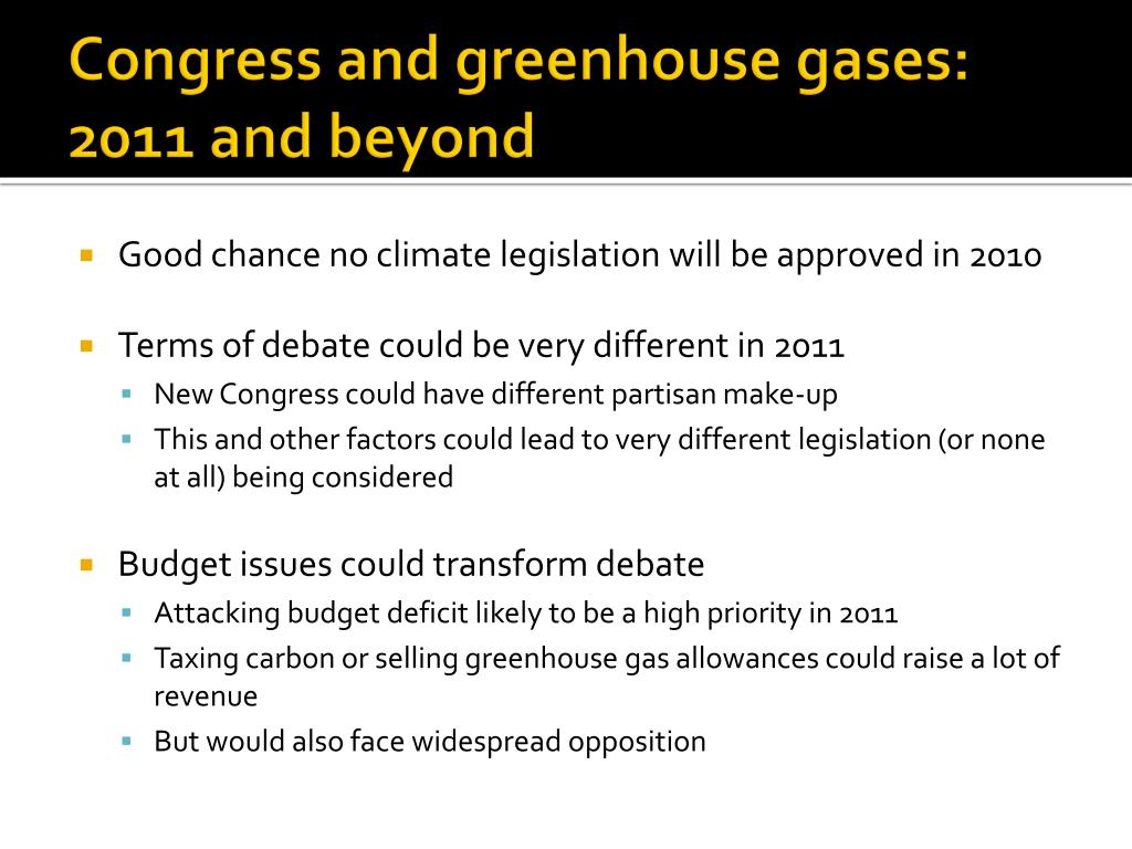 Congress and greenhouse gases: 2011 and beyond