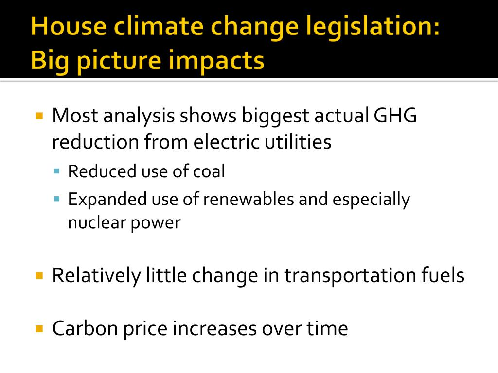 House climate change legislation: Big picture impacts