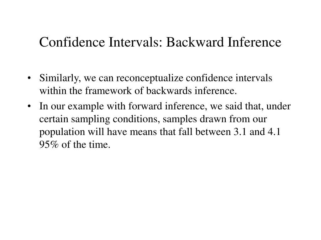 Confidence Intervals: Backward Inference