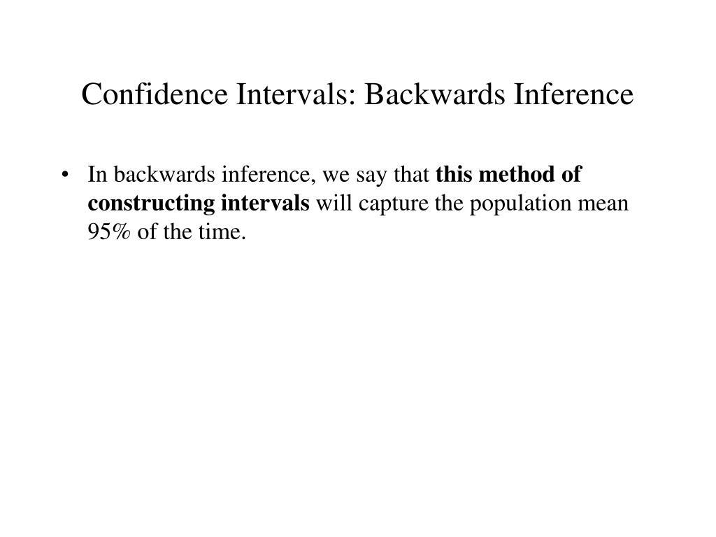 Confidence Intervals: Backwards Inference