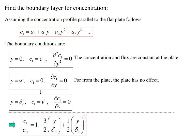 Find the boundary layer for concentration: