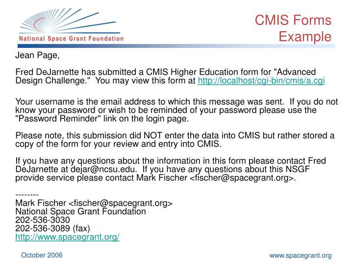 CMIS Forms