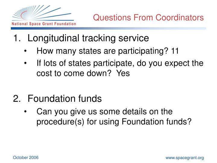 Questions From Coordinators