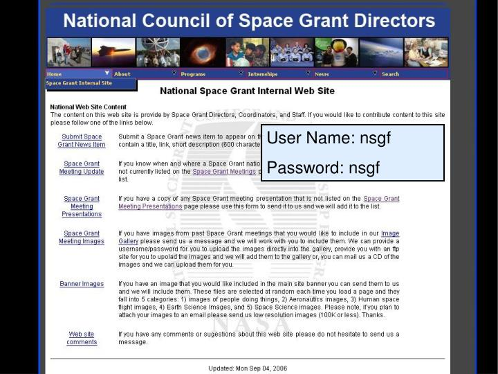 User Name: nsgf