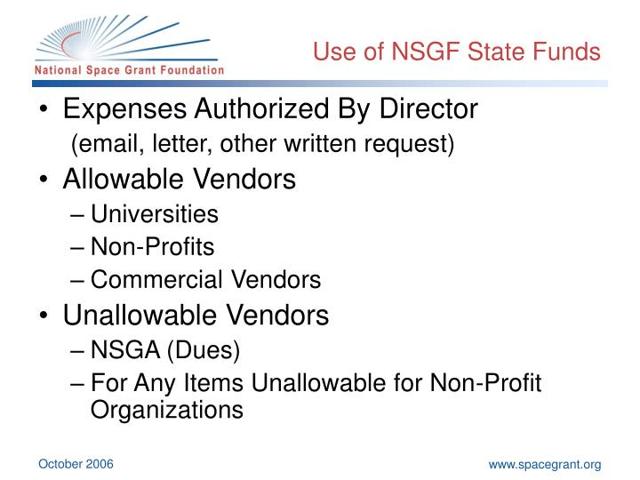 Use of NSGF State Funds