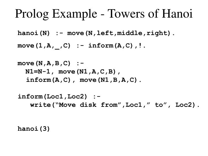 Prolog Example - Towers of Hanoi