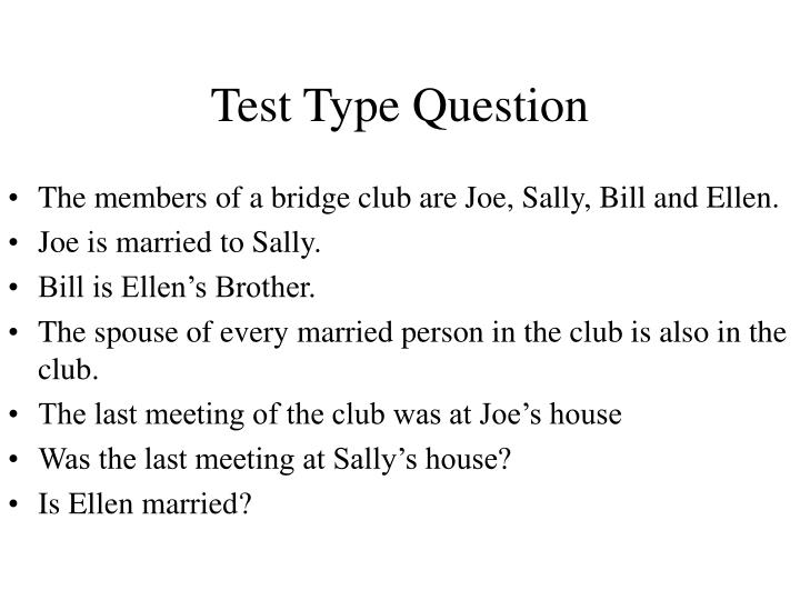 Test Type Question