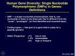 human gene diversity single nucleotide polymorphisms snps in genes definitions