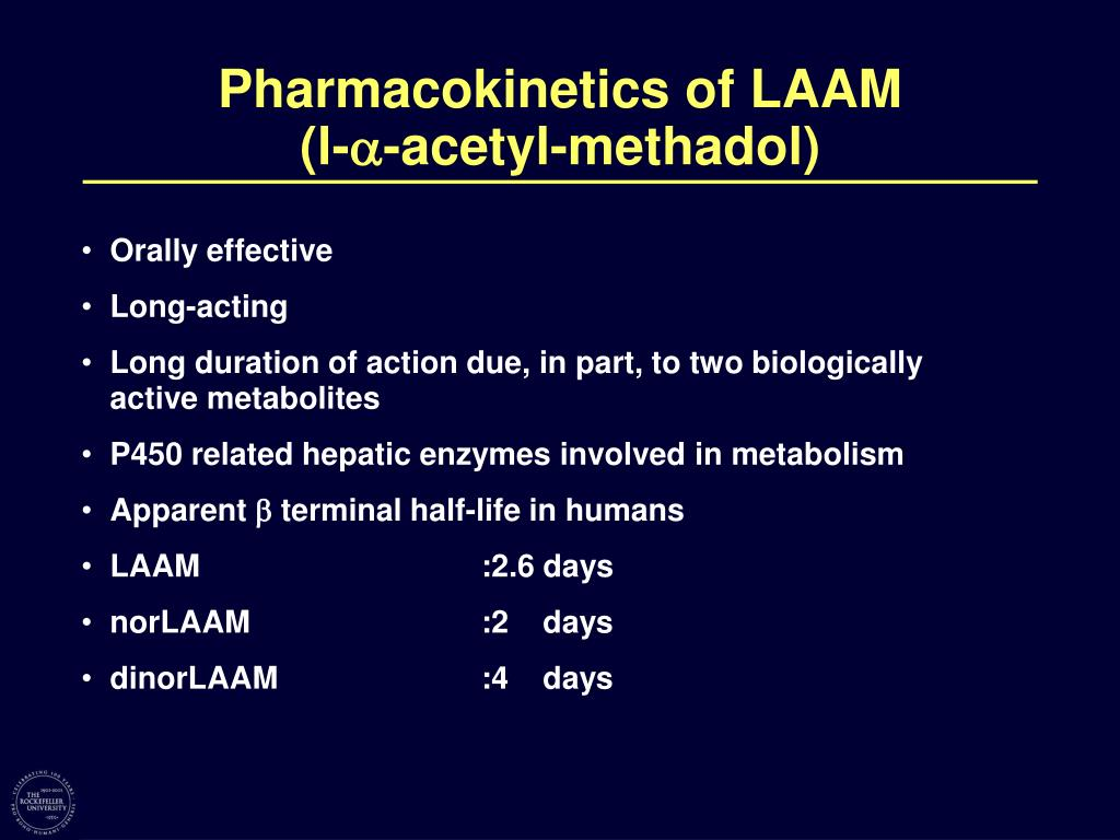 Pharmacokinetics of LAAM