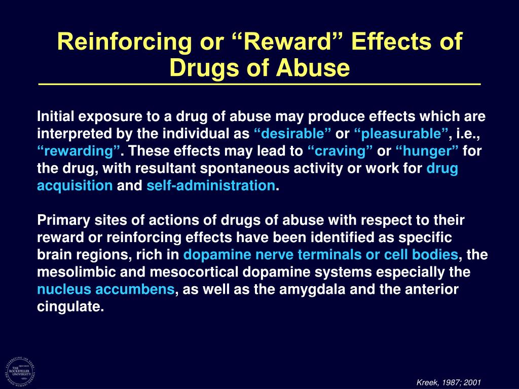 """Reinforcing or """"Reward"""" Effects of"""