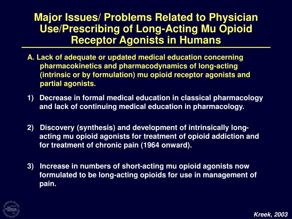 Major Issues/ Problems Related to Physician Use/Prescribing of Long-Acting Mu Opioid Receptor Agonists in Humans