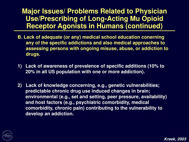 Major Issues/ Problems Related to Physician Use/Prescribing of Long-Acting Mu Opioid Receptor Agonis...