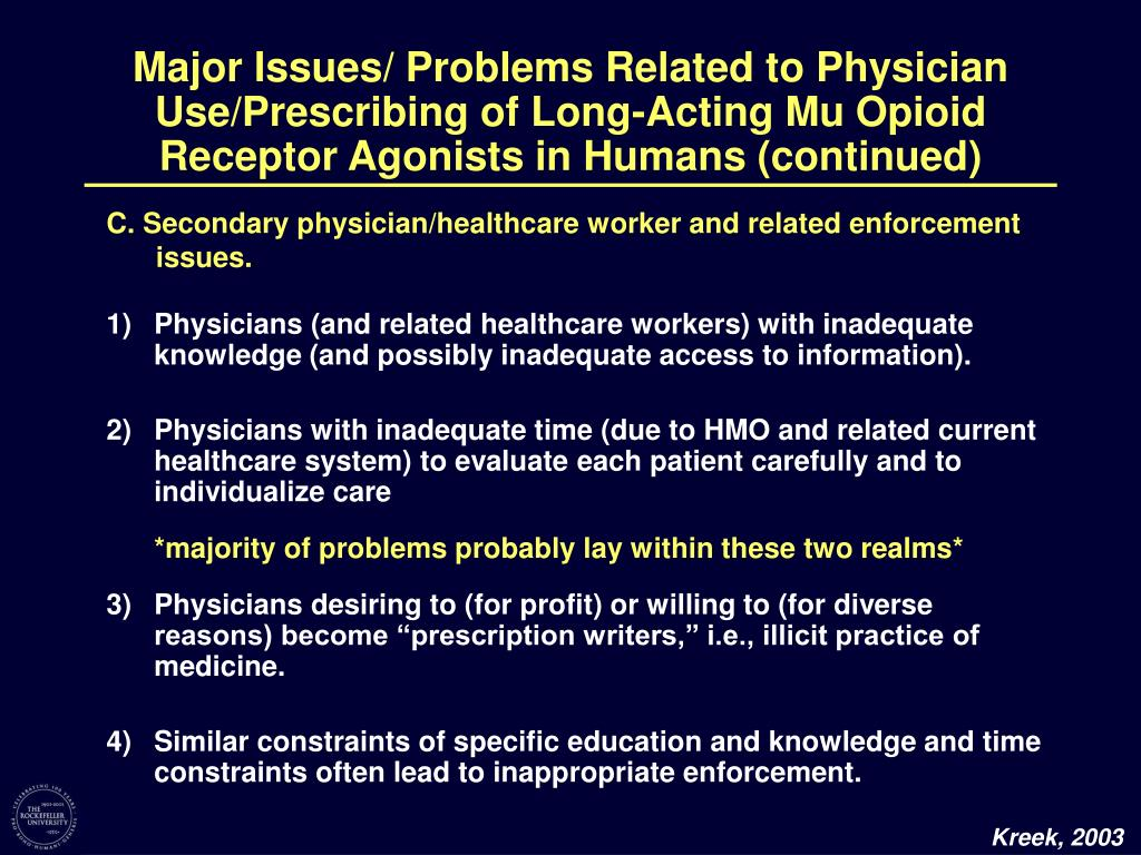 Major Issues/ Problems Related to Physician Use/Prescribing of Long-Acting Mu Opioid Receptor Agonists in Humans (continued)