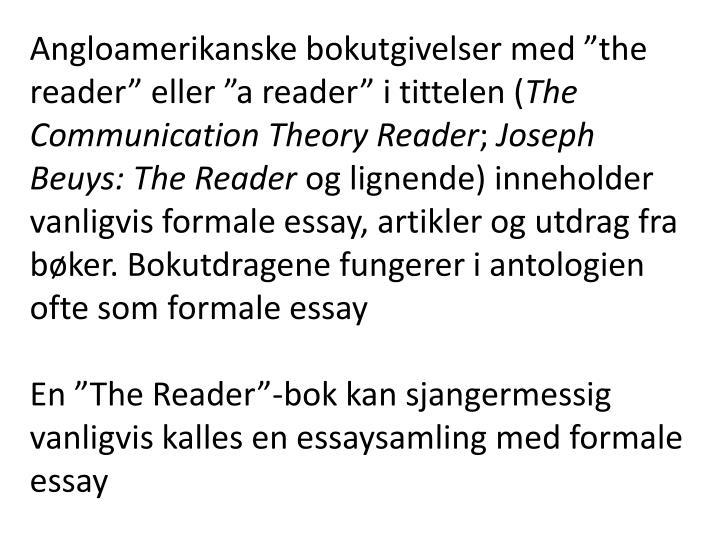 """Angloamerikanske bokutgivelser med """"the reader"""" eller """"a reader"""" i tittelen ("""