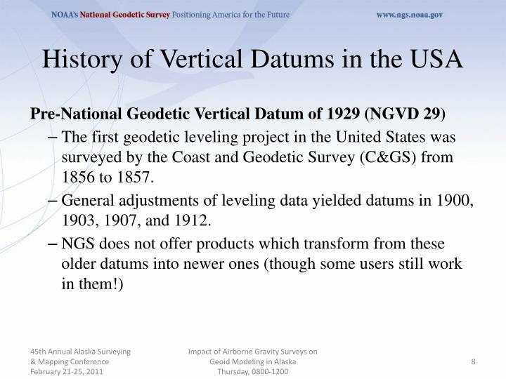 History of Vertical Datums in the USA