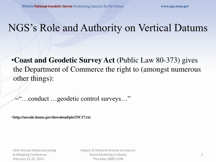 Ngs s role and authority on vertical datums