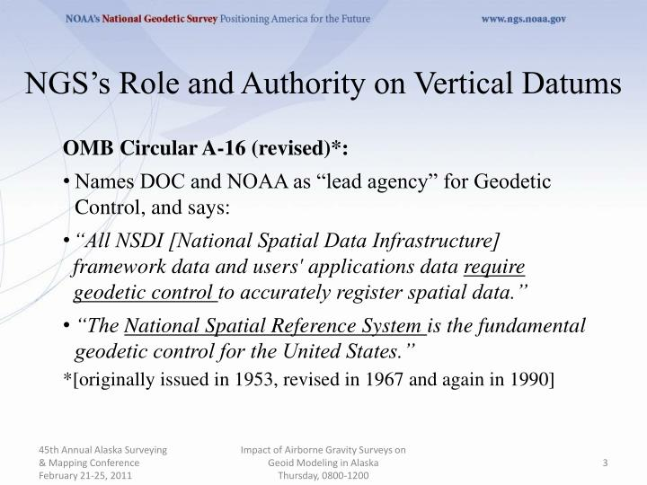 Ngs s role and authority on vertical datums1