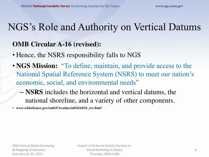NGS's Role and Authority on Vertical Datums
