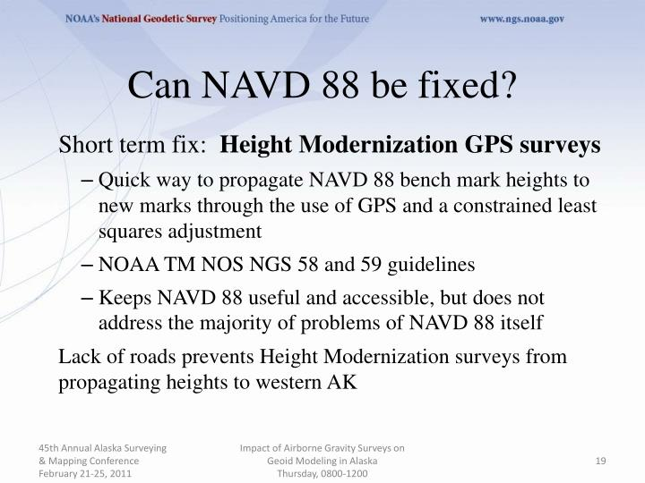 Can NAVD 88 be fixed?
