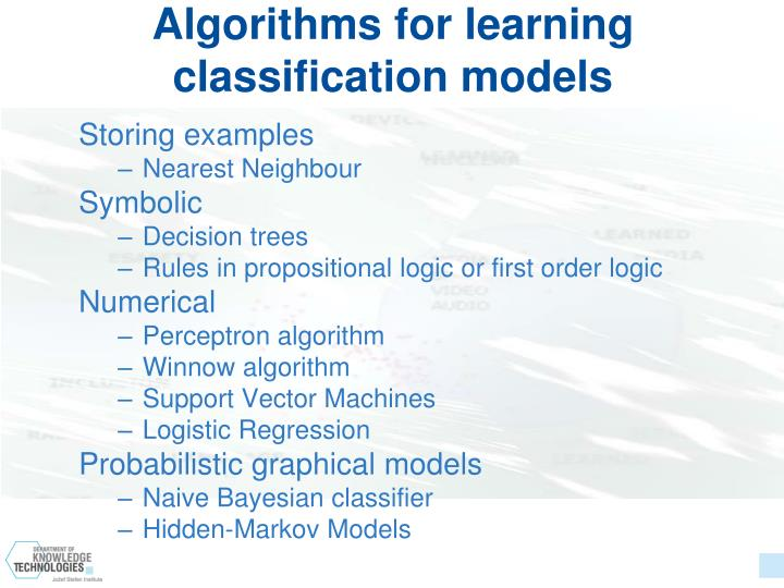 Algorithms for learning classification models