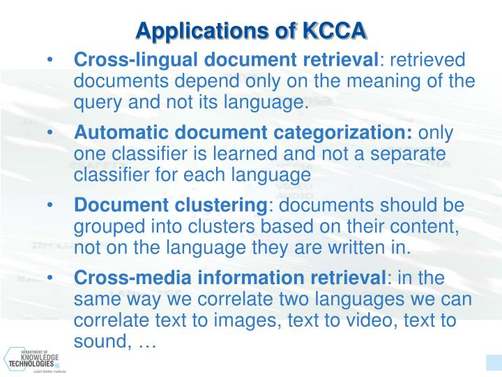 Applications of KCCA