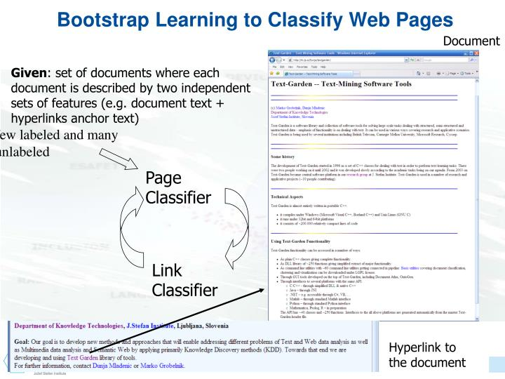 Bootstrap Learning to Classify Web Pages