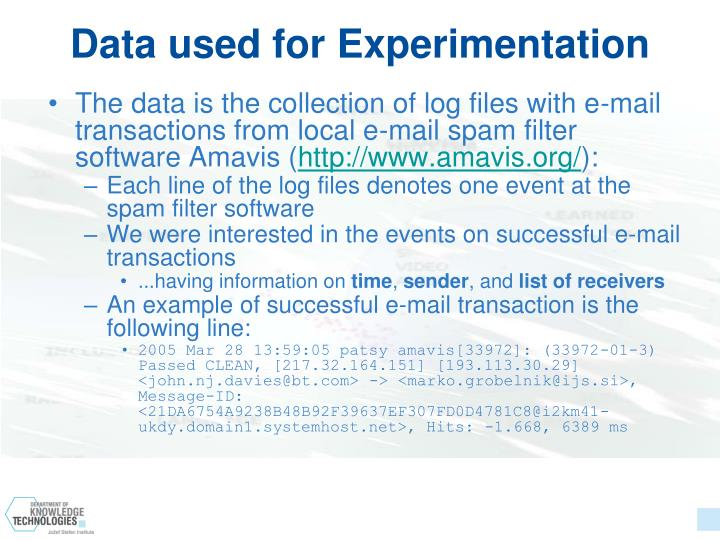 Data used for Experimentation