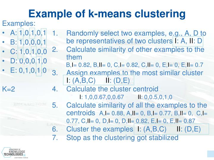 Example of k-means clustering