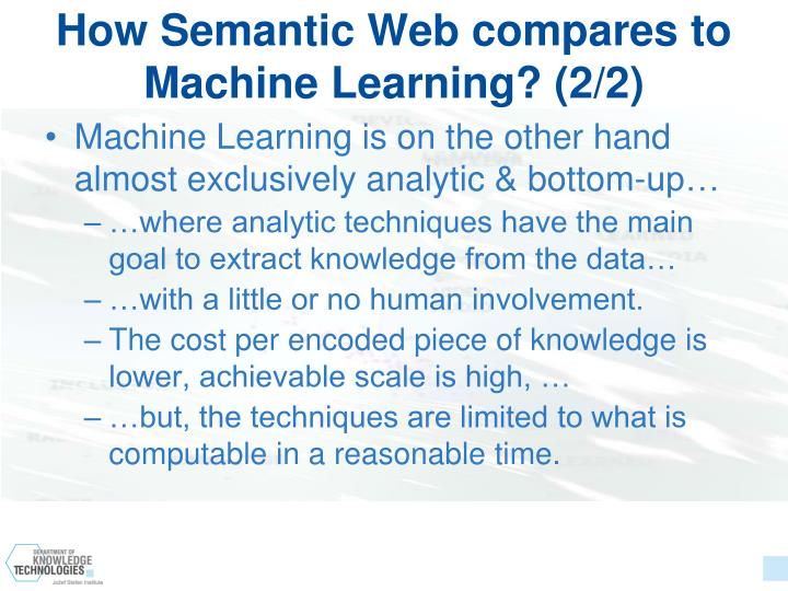 How Semantic Web compares to Machine Learning? (2/2)