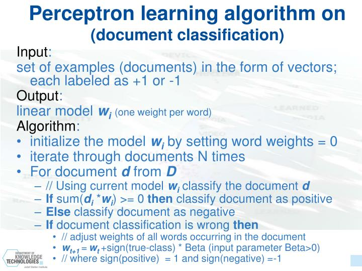 Perceptron learning algorithm on