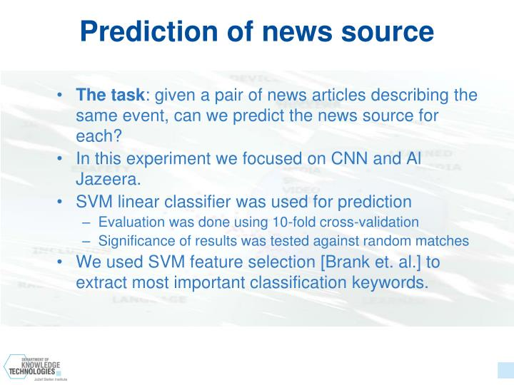 Prediction of news source