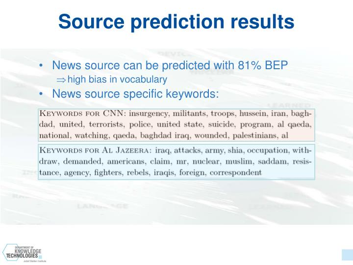 Source prediction results